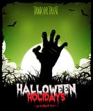 Halloween Background With Undead Zombie Hand. Illustration of a cartoon spooky zombie hand, inside halloween night landscape background Stock Photo