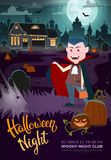 Vampire, haunted house and full moon. Halloween party flyer. royalty free illustration