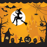 Halloween background.vector illustration. Cartoon background on Halloween with flying ,pumpkins, black cat, owl, bats, cobwebs, castles and tombs witch on an Royalty Free Stock Photo