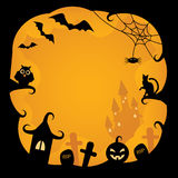 Halloween background.vector illustration. Cartoon background on Halloween with pumpkins, black cat, owl, bats, cobwebs, castles and tombs witch on an orange Royalty Free Stock Photo