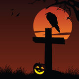 Halloween Background. Vector halloween illustration of a crow at a graveyard Stock Images