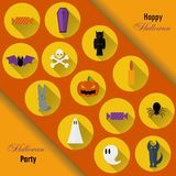 Halloween Background. Vector Illustration. Flat Halloween Icons in Circles on Dark Chalkboard Textured Backdrop Stock Images