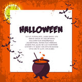 Halloween Background. Vector Illustration. Flat Halloween Icons with Square Frame. Royalty Free Stock Photo