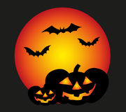 Halloween Background. Vector illustration of Halloween background with  pumpkins, bats and the red moon Royalty Free Stock Photos