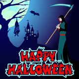 Halloween background vector illustration with silhouette haunting castle death lettering Royalty Free Stock Photo