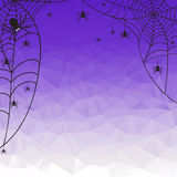 Halloween Background. Vector Halloween polygonal mosaic  backgroun with spiderweb and spiders Royalty Free Stock Image