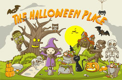 Illustration of Kids in different costume for Halloween Party. Vector halloween background with words Royalty Free Stock Photos