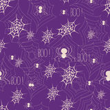Halloween background with web and spiders. Halloween seamless background with web and spiders. Halloween textile design for party or wrap. Hand drawn Royalty Free Stock Image