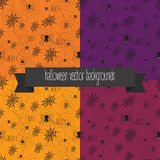 Halloween background with web and spiders. Halloween seamless background with web and spiders. Halloween textile design for party or wrap. Hand drawn Stock Photography