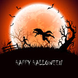 Halloween background with werewolf Royalty Free Stock Images