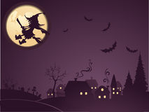 Halloween background with witch Stock Images