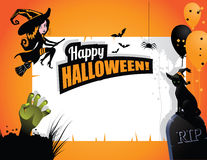 Halloween background witch cat hand balloons Stock Photo