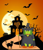 Halloween background with Witch Stock Photography