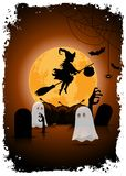 Halloween Background with Witch and Ghosts. Stock Illustration