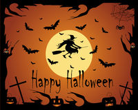Halloween background with witch owls and bats Royalty Free Stock Photos