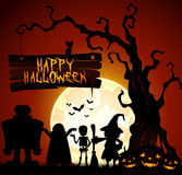Halloween background with witch, skeleton and monster silhouette Stock Photos