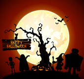 Halloween background with witch, skeleton and monster silhouette Stock Photography