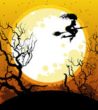 Halloween background with witch Royalty Free Stock Photos