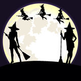 Halloween background with witches and moon. Stock Photography