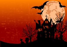 Halloween Background With Haunted House Royalty Free Stock Photos