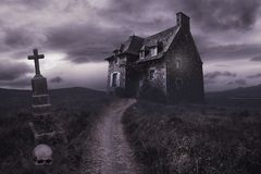 Free Halloween Background With Old House Stock Photos - 148396193