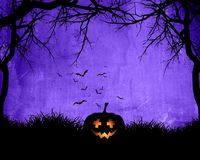 Free Halloween Background With Pumpkin On Purple Background Stock Photography - 100880082