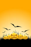 Halloween Background With Pumpkins And Grass Stock Images