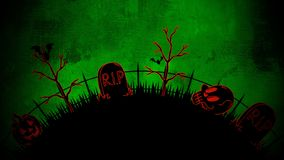 Free Halloween Background With The Coffins, Pumpkins, Trees, Bats, Skulls Stock Image - 156979651