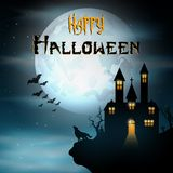 Halloween background with wolf and creepy home on scary hill Royalty Free Stock Images