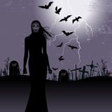 Halloween background with woman ghost Stock Image