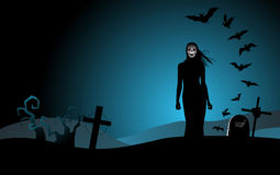 Halloween background with the woman ghost Stock Photography