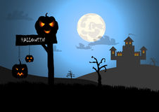 Halloween background with wood sign and castle backgrou Royalty Free Stock Images