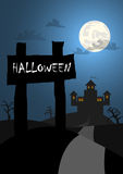 Halloween background with wood sign and castle backgrou Stock Images