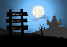Halloween background with wood sign and castle Stock Photo