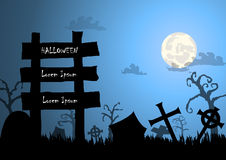 Halloween background and wood sign Royalty Free Stock Photography