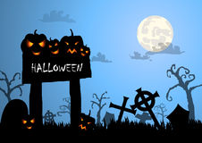 Halloween background and wood sign Stock Photography