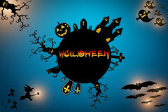 Halloween background wtih spooky bats and pumpkins. Royalty Free Stock Photos