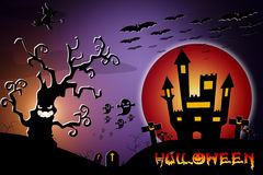 Halloween background wtih spooky bats and pumpkins. Royalty Free Stock Image