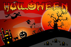 Halloween background wtih spooky bats and pumpkins Royalty Free Stock Photo