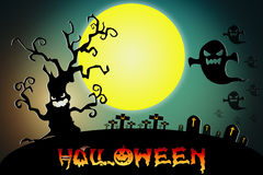 Halloween background wtih spooky bats and pumpkins. Stock Photography