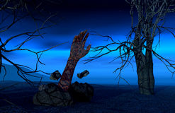 Halloween background with zombie hand Stock Photo