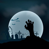Halloween Background. Zombie hand rising out from the ground, ve Royalty Free Stock Photography