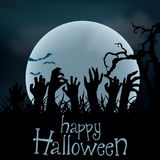 Halloween Background. Zombie hands rising out from the ground, v Stock Images