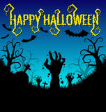 Halloween background with zombies hand and bat Stock Images