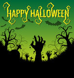 Halloween background with zombies hand and bat Stock Photography