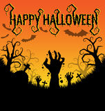 Halloween background with zombies hand and bat Stock Photos