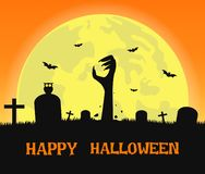 Halloween background with zombies hands stock image