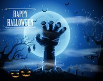 Halloween background with zombies and the moon Royalty Free Stock Photography