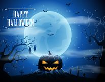 Halloween background with zombies and the moon Stock Photo