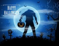 Halloween background with zombies and the moon Stock Image
